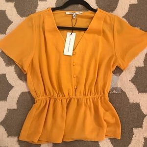 NWT Gold/Yellow fit and flare button up top